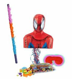 "Spider-Man 17"" Pull-String Pinata Party Pack Including Pinata, Pinata Candy and Toy Filler, Buster and Blindfold by Pinata. $47.55. Includes one pinata. Includes approximately 2 pounds of Candy and Toys. Caution: not recommended for children under 3 years of age. Includes one hard Plastic Pinata Buster that measures approximately 30"". Caution: use only under adult supervision. Includes one Blindfold with Elastic String. Measures 7"" long x 5.5"" high. this is an officiall..."