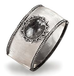 Cellini Jewelers ~ Antique Inspired Gray Diamond Wide Bangle with a centered rose-cut oval grey diamond and white diamond pavé.