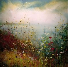 Bloemen - Yulia Muravyeva Yellow Sky, Meadow Flowers, Flower Landscape, Acrylic Painting Techniques, Background Ideas, Painted Flowers, High Art, Pour Painting, Flower Photos