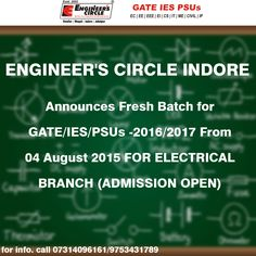 ENGINEER'S CIRCLE INDORE Announces Fresh Batch for GATE/IES/PSUs -2016/2017