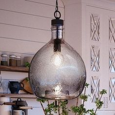 Shop for Luxury Modern Farmhouse Pendant Light, x with Mediterranean Style, Charcoal Finish by Urban Ambiance. Get free delivery at Overstock - Your Online Ceiling Lighting Store! Get in rewards with Club O! Clear Glass Pendant Light, Glass Pendants, Lighting Warehouse, Farmhouse Pendant Lighting, Kitchen Lighting, Pottery Barn Pendant Lights, Modern Farmhouse Lighting, Island Lighting, Bubble