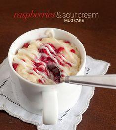 Raspberries & Sour Cream Mug Cake