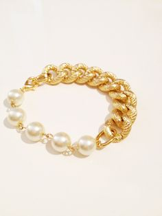 Gold Chunky Chain with Large Pearls. $45.00, via Etsy.