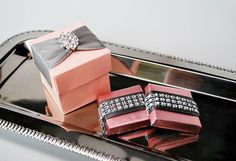 Pink and Silver Favor Box with Crystal Rhinestone and decorated chocolates!!