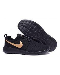 new concept 88a76 461f1 Nike Roshe Run Black Gold Womens Mens