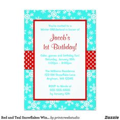 Red and Teal Snowflakes Winter Onederland Card A cute snowflake invitation for a winter ONEderland themed boy or girl 1st birthday party. Shown in aqua teal blue, red and white. Easily personalize for your party!