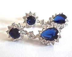 Blue Sapphire earrings - Cubic Zirconia' s - Halo - Something Blue - Bridal jewelry - September Birthstone - Elegant jewelry - KATE