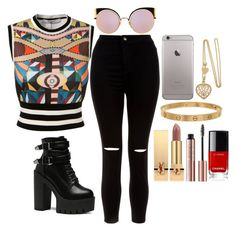 """""""Untitled #434"""" by elsakaram ❤ liked on Polyvore featuring Givenchy, New Look, Fendi, Cartier and Yves Saint Laurent"""
