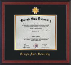 GSU Diploma Frame - Che Reverse - w/GSU Medallion - Black on Gold mat – Professional Framing Company