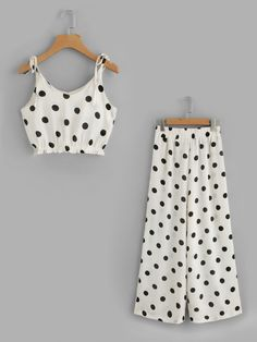 Shop Polka Dot Tie-Strap Crop Top With Wide Leg Pants online. SheIn offers Polka Dot Tie-Strap Crop Top With Wide Leg Pants & more to fit your fashionable needs. Dresses Kids Girl, Kids Outfits, Summer Outfits, Cute Outfits, Cami Crop Top, Cami Tops, Kids Fashion, Fashion Outfits, Woman Fashion