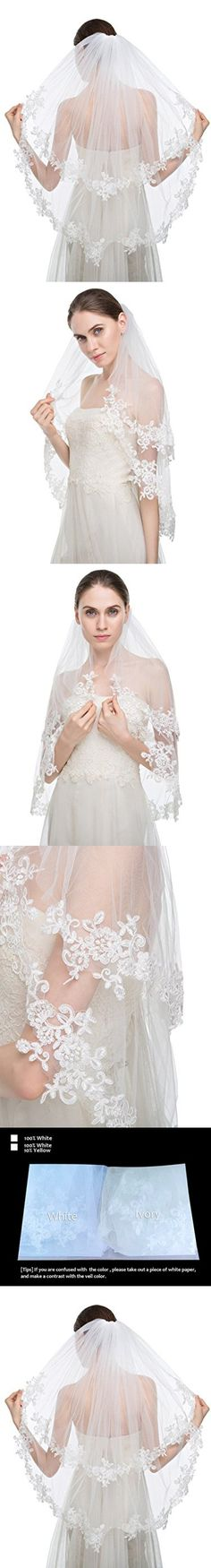 Edith qi Elegant Wedding Veil 2T Two-tier Elbow Veils Lace Applique Edge with Comb