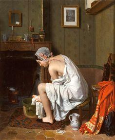 Jean-Alphonse Roehn - Jeune Femme a sa Toilette / Young Woman at Her Toilette, oil on canvas. Louvre Museum, Arte Obscura, Classical Art, Fine Art, Vintage Pictures, Art Pictures, Art Google, Young Women, Art History