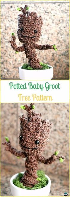 Crochet Potted Baby GrootFree Pattern - Crochet Plant Free Patterns
