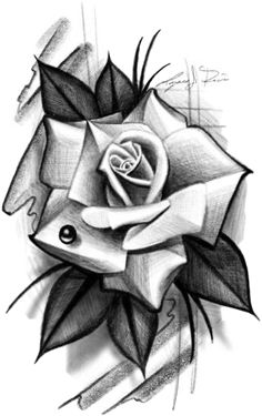 Old School, Abstract, Drawings, Flowers, Artwork, Tattoos, Beautiful Tattoos, Roses, Poster