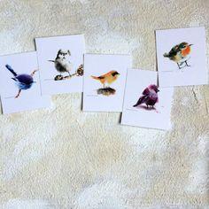 Watercolor Postcards Set Bird Painting Bird Art by CanotStopPrints