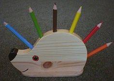wooden hedgehog pencil holder