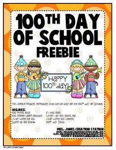 100th Day of School Freebie {Printables}