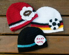 WORLD SOCCER HAT or Football or Baseball Crocheted by Grandmabilt, $22.00