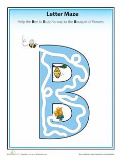 Work your way through these alphabet letter mazes with your preschooler to help her learn her ABC's. Teaching Letters, Preschool Letters, Letter Activities, Learning The Alphabet, Pre Writing, Kids Writing, Writing Skills, Printable Alphabet Letters, Handwriting Alphabet