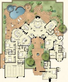 Castillo: A grand desert Residence with no detail overlooked, this plan features a commanding living room with a towering fireplace. It also boasts a circular bar and the master suite has its own fireplace and exercise room.:
