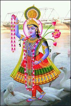 Shri Yamunaji Krishna Hindu, Jai Shree Krishna, Bhagwan Shiv, Tanjore Painting, Ganesha Art, Blue Balloons, Lord Vishnu, Krishna Images, God Pictures