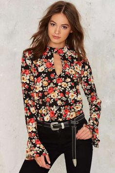Chokes On You Floral Blouse