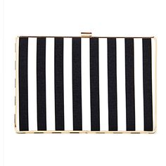 Yoins Black and White Striped Leather-look Box Clutch Bag with Chain... (€27) ❤ liked on Polyvore featuring bags, handbags, clutches, accessories, yoins, black, structured purse, handbag purse, black and white striped purse and faux leather handbags