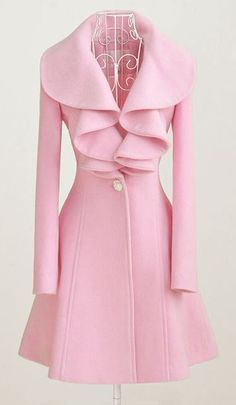 Stunning Pink Long Sleeve Coat