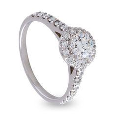 Beautiful 18ct White Gold Round Brilliant Diamond Halo Engagement Ring with Diamond Shank.