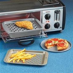 Non-Stick Toaster Oven Pans:  Broiling & Baking Pan $12, Crisping Pan $11, Pizza Pans (set of 2) $9.  Or buy all 4 pieces for $27.