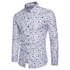 Brand New European Business Mens Long Sleeved Shirts Fashion Digital Five-star Printing Shirts Male 2018 Cotton Shirts For Men, Casual Shirts For Men, Long Sleeve Fitted Dress, Long Sleeve Shirts, Dress Long, Long Shirts, Camisa Floral, Formal Shirts, Star Fashion
