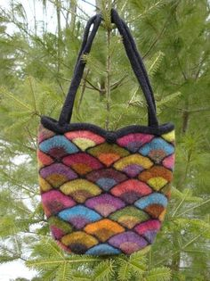 Felted Stained Glass Fan Bag Pattern  knit by knittingdream
