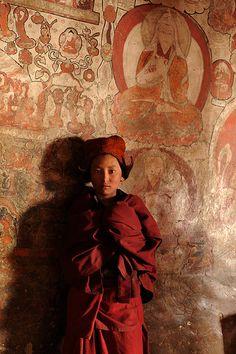 Novice in Karsha monastery . Tibet