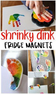 Make adorable handprint/footprint shrinky dink fridge magnets for a Mother's Day gift! Super cute keepsake for kids to make for mom.