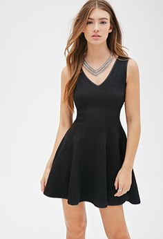 Diamond-Embossed A-Line Dress | FOREVER21 - 2000118686