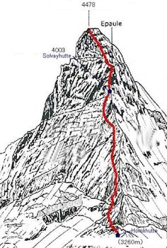 Climbing route on the Matterhorn. Note the location of the ''Solvayhut'', an emergency hut for climbers at altitude 4,000 m, just 470m below the peak.