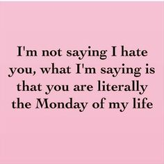 "Who EVER liked a Monday? | ""I'm not saying I hate you, what I'm saying is that you are literally the Monday of my life."