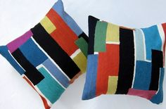 Multi Bricks Pillow  New collection of hand-made cushions. The perfect example of east meeting west in the best possible ways. From craftsmen who produce the finest quality chainstitch needlework in the world