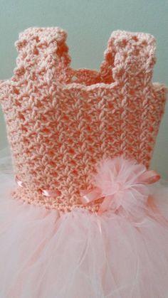 Haak/Tule baby jurk van DeesCrochetEnvy op Etsy