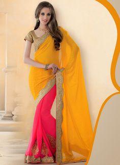 Pink and Yellow Half N Half #Saree