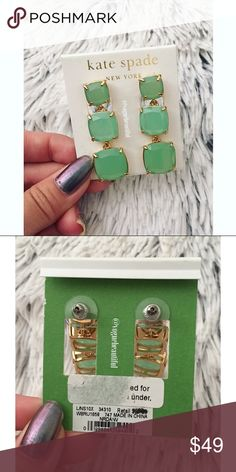 NWT Kate Spade Hanging Green Earrings Gorgeous hanging green earrings by Kate spade • 100% authentic & new with tags • color is a beautiful seaglass green • length is 1.75 inches • Comes with white KS dustbag • color may vary slightly from photos taken in daylight • NO TRADES‼️ kate spade Jewelry Earrings