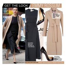 """Get The Look - Emmy Rossum at  NYFW"" by kusja ❤ liked on Polyvore featuring Christian Louboutin, Carolina Herrera, Whistles, StreetStyle, NYFW, celebstyle, emmyrossum and newyorkfashionweek"