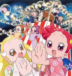 Tags: Ojamajo DoReMi, Harukaze Doremi, Senoo Aiko, Fujiwara Hazuki, Segawa Onpu, Asuka Momoko, Official Art, Umakoshi Yoshihiko