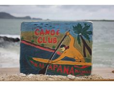 """Here is a hand made vintage racing canoe sign """"CANOE CLUB, KALAPANA HAWAII"""", each letter around this vintage/weathered sign is raised (hand carved). Hawaiian Art, Vintage Hawaiian, Go Hawaii, Canoe Club, Outrigger Canoe, Polynesian Art, Ocean Art, Vintage Racing, Big Island"""