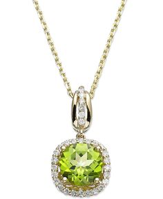 14k Gold Peridot (1-1/2 ct. t.w.) and Diamond (1/5 ct. t.w.) Round-Cut Pendant