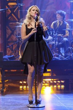 """Miranda Lambert wearing Black Halo Eve's Spring 2013 Stirling Cocktail Dress in Black on NBC's """"The Tonight Show with Jay Leno"""""""