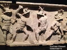 "More on gladiators: https://www.youtube.com/watch?v=R3y2qEcG0k4&list=PLabDxfGj6LIcG80kg6yLHpm1xVcV_pSdQ&index=1 Funerary relief with from left to right: murmillo, murmillo, thraex and another murmillo.30-50 CE, Chieti (Italy), Gladiator exhibition (""Gladiatoren: Helden van het Colosseum""), Gallo-Romeins Museum, Tongeren (Belgium)."