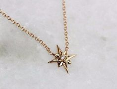 """Gold Star Necklace, """"North Star"""" Necklace, Solid Gold Necklace, Diamond Star Necklace, Diamond N Diamond Pendant Necklace, Diamond Jewelry, Jewelery, Silver Jewelry, Jewelry Necklaces, Gold Bracelets, Diamond Earrings, Diamond Necklaces, Jewellery Stand"""