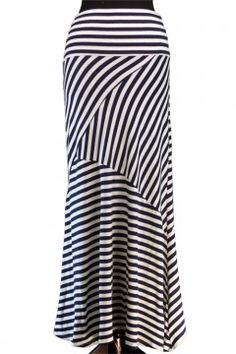 Navy Crisscross Striped Maxi Skirt ~ Jade MacKenzie Modest Apparel www.jademackenzie.com