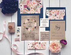 Fall Wedding Invitation Set  Rustic Navy Autumn Printable